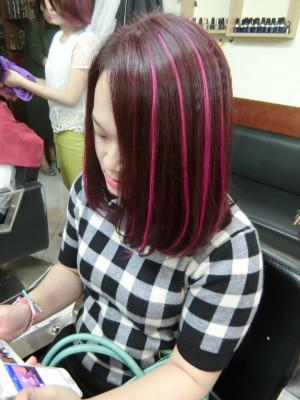 Tóc lỡ light đỏ hồng