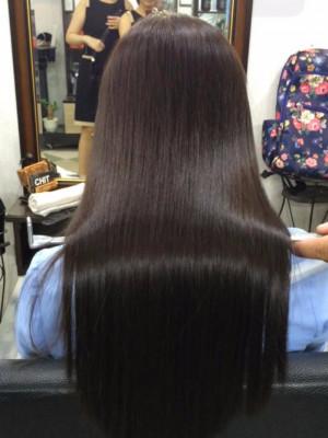 Tóc đen ép dài tự nhiên