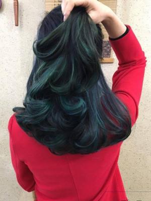 Xoăn đen sọc xanh