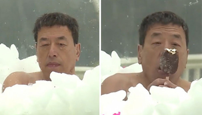 """Kỷ lục ướp đá lạnh hàng giờ giữa mùa đông của """"Người băng"""""""
